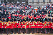 The Bands of the Guards Regiments leave the Parade - Colonel's Review 2018, the last formal inspection of the Household Division before The Queen's Birthday Parade, more popularly known as Trooping the Colour. The Coldstream Guards Troop Their Colour and their Regimental Colonel, Lieutenant General Sir James Jeffrey Corfield Bucknall, takes the salute.