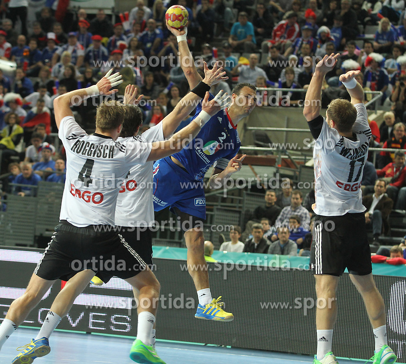 18.01.2013 Barcelona, Spain. IHF men's world championship, prelimanary round. Picture show  Jerome Fernandez   in action during game between France vs Germany at Palau St Jordi / Sportida Photo Agency
