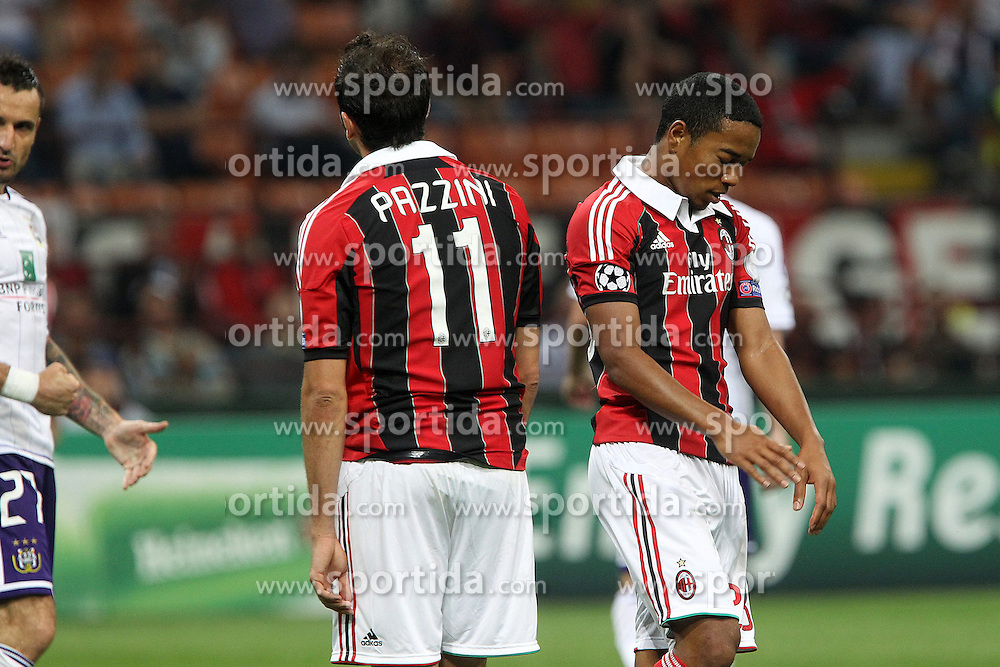18.09.2012, Stadio Giuseppe Meazza, Mailand, ITA, UEFA Champions League, AC Mailand vs RSC Anderlecht, Gruppe C, im Bild Delusione Giampaolo Pazzini Urby Emanuelson Milan // during the UEFA Champions League group C match between AC Milan and RSC Anderlecht at the Stadio Giuseppe Meazza, Milano, Italy on 2012/09/18. EXPA Pictures © 2012, PhotoCredit: EXPA/ Insidefoto/ Paolo Nucci..***** ATTENTION - for AUT, SLO, CRO, SRB, SUI and SWE only *****