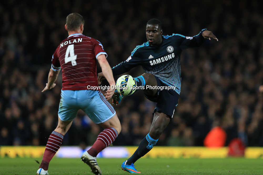 4 March 2015 - Barclays Premier League - West Ham United v Chelsea - Kurt Zouma of Chelsea in action with Kevin Nolan of West Ham - Photo: Marc Atkins / Offside.
