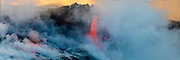 Lava Boat Tour, Kilauea Volcanon, HVNP. Island of Hawaii, Hawaii, panoramic