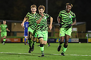 Forest Green Rovers Dylan Morgan(48) scores a goal 4-0 and celebrates during the FA Youth Cup match between Forest Green Rovers and Helston Athletic at the New Lawn, Forest Green, United Kingdom on 29 October 2019.