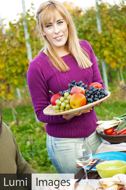 Young woman, fruits, organic, freshness
