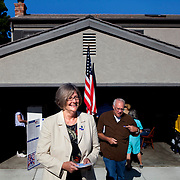 District 1 City Council candidate Sherri Lightner exits her polling place after voting on Tuesday.