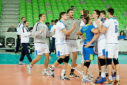 Team Slovenia celebrate after qualifications match for FIVB Men's World Championship 2014 between National team Slovenia and Israel in pool B on May 24, 2013 in SRC Stozice, Ljubljana, Slovenia. (Photo By Urban Urbanc / Sportida)