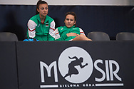 Zielona Gora, Poland - 2019 February 08: Bulgaria's bench while women's singles while Bulgaria v Sweden during 2019 Fed Cup Europe / Africa Group I Tournament at MOSiR Hall on February 08, 2019 in Zielona Gora, Poland.<br /> <br /> Mandatory credit:<br /> Photo by © Adam Nurkiewicz<br /> <br /> Picture also available in RAW (NEF) or TIFF format on special request.<br /> <br /> Any editorial, commercial or promotional use requires written permission.<br /> <br /> Adam Nurkiewicz declares that he has no rights to the image of people at the photographs of his authorship.<br /> <br /> Image can be used in the press or another use when the method of use and the signature does not hurt people on the picture.