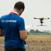 Assenede, Belgium 14 August 2015<br /> Trimble drone pilot training camp.<br /> Trimble integrates a wide range of positioning technologies including GPS, laser, optical and inertial technologies with application software and wireless communications to provide complete commercial solutions. <br /> Photo: Ezequiel Scagnetti