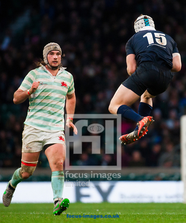 Matt Geiger of Oxford University makes a catch in the air during the The Mens Varsity Match match at Twickenham Stadium, Twickenham<br /> Picture by Jack Megaw/Focus Images Ltd +44 7481 764811<br /> 10/12/2015