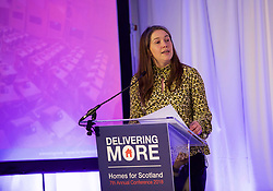 Cabinet Secretary for Communities and Local Government Aileen Campbell addressing the Homes for Scotland 7th annual conference at Murrayfield stadium Edinburgh. Pic copyright Terry Murden @edinburghelitemedia