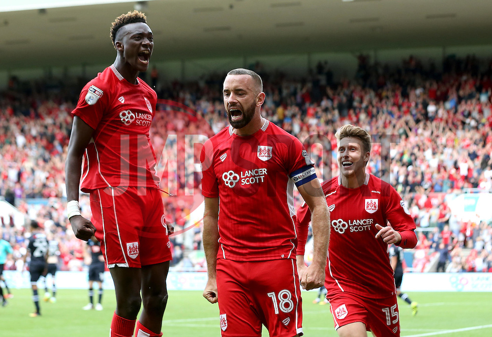 Aaron Wilbraham of Bristol City celebrates with Tammy Abraham and Luke Freeman after scoring a last minute equaliser against Derby County - Mandatory by-line: Robbie Stephenson/JMP - 17/09/2016 - FOOTBALL - Ashton Gate Stadium - Bristol, England - Bristol City v Derby County - Sky Bet Championship