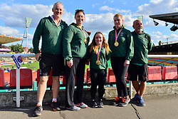 Paralympics Ireland Medalists with coaches.  From left:  Orla Barry, F57, IRE, Niamh McCarthy, F41, Noelle Lenihan, F38 at the Berlin 2018 World Para Athletics European Championships