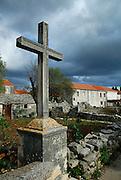 Stone cross, Zrnovo, island of Korcula, Croatia