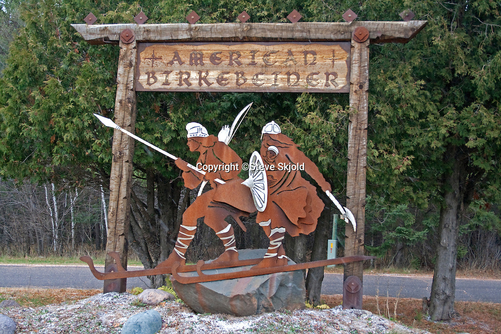 Metal sculpture of warriors on skis advertising the American Birkebeiner. Cable Wisconsin WI USA