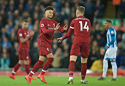 LIVERPOOL, ENGLAND - Friday, April 26, 2019: Liverpool's Alex Oxlade-Chamberlain comes on after a year out injured during the FA Premier League match between Liverpool FC and Huddersfield Town AFC at Anfield. (Pic by David Rawcliffe/Propaganda)