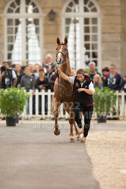 Karin Donckers, (BEL), Lamicell Unique, second horse for Karin Donkers - First Horse Inspection  - Alltech FEI World Equestrian Games&trade; 2014 - Normandy, France.<br /> &copy; Hippo Foto Team - Dirk Caremans<br /> 25/06/14