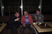 Camp Freddie, Dan Macmillan and Charlie Watson. Gumball 3000. Pre-race  dinner hosted by Armani and Maximillion. Ubon, Canary Wharf. London. 23 April 2001.