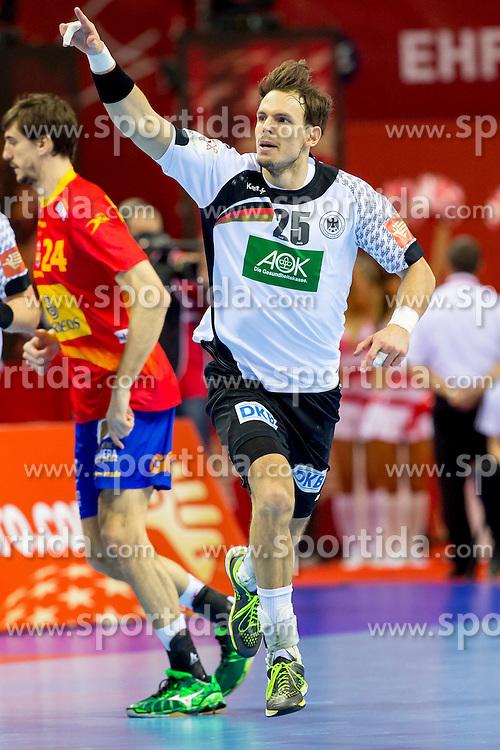 31.01.2016, Tauron Arena, Krakau, POL, EHF Euro 2016, Deutschland vs Spanien, Finale, im Bild Steffen Faeth (Nr 23, HSG Wetzlar) und Kai Haefner (Nr 25, TSV Hannover-Burgdorf) // during the 2016 EHF Euro final match between Germany and Spain at the Tauron Arena in Krakau, Poland on 2016/01/31. EXPA Pictures &copy; 2016, PhotoCredit: EXPA/ Eibner-Pressefoto/ Koenig<br /> <br /> *****ATTENTION - OUT of GER*****