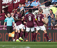 Hearts&rsquo; Esmael Goncalves is congratulated after scoring the only goal of the game  - Hearts v Dundee in the Ladbrokes Scottish Premiership at Tynecastle, Edinburgh, Photo: David Young<br /> <br />  - &copy; David Young - www.davidyoungphoto.co.uk - email: davidyoungphoto@gmail.com