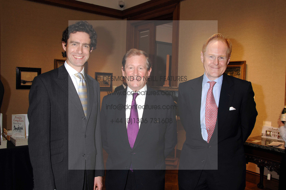Left to right, JAMES PEILL, The Knight if Glin DESMOND FITZ-GERALD and CHARLES CATOR Deputy Chairman Christie's at a reception to launch the Knight of Glin's book 'Irish Furniture' and Harry Erne's book 'Freddy Lond Ears' held at Christie's, 8 King Street, London SW1 on 3rd May 2007.<br /><br />NON EXCLUSIVE - WORLD RIGHTS
