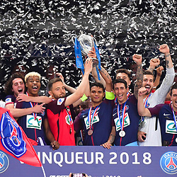 Sebastien Flochon of Les Herbiers, Thiago Silva and players of PSG celebrates winning the French National Cup match between Les Herbiers and Paris Saint Germain at Stade de France on May 8, 2018 in Paris, France. (Photo by Dave Winter/Icon Sport)
