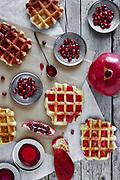Crisp golden fresh baked waffle topped with pomegranate sorbet.