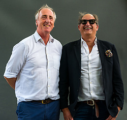 Pictured: Edinburgh International Book Festival, Edinburgh, Scotland, United Kingdom, 26 August 2019.  L to R: Adam Nicolson, 5th Baron Carnock, an author who has written about history, landscape, great literature and the sea, talks about Lyrical Ballads, the friendship between Samuel Coleridge and William Wordsworth. With Tom Hammick, artist, painter and printmaker, at the book festival today.<br /> Sally Anderson | EdinburghElitemedia.co.uk
