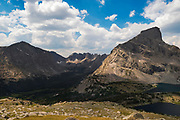 Overlooking the valley of the North Fork of the Popo Agie River and the Cirque of the Towers, and Lizard Head Peak (right)  in the Wind River Range, Shoshone National Forest, Wyoming