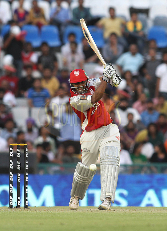 Paul Valthaty of the Kings XI Punjab straight drives a delivery during match 9 of the Indian Premier League ( IPL ) Season 4 between the Kings XI Punjab and the Chennai Super Kings held at the PCA stadium in Mohali, Chandigarh, India on the 13th April 2011..Photo by Shaun Roy/BCCI/SPORTZPICS