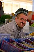 Uzbekistan, Samarqand.<br /> Siob Bazaar. Traditional Uzbek caps.