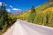 Fall color on the San Juan Skyway (Highway 550), Uncompahgre National Forest, Colorado