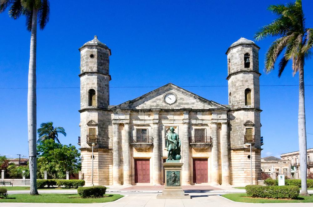 Iglesia La Parroquia and Statue of Christopher Columbus, Cardenas, Cuba.