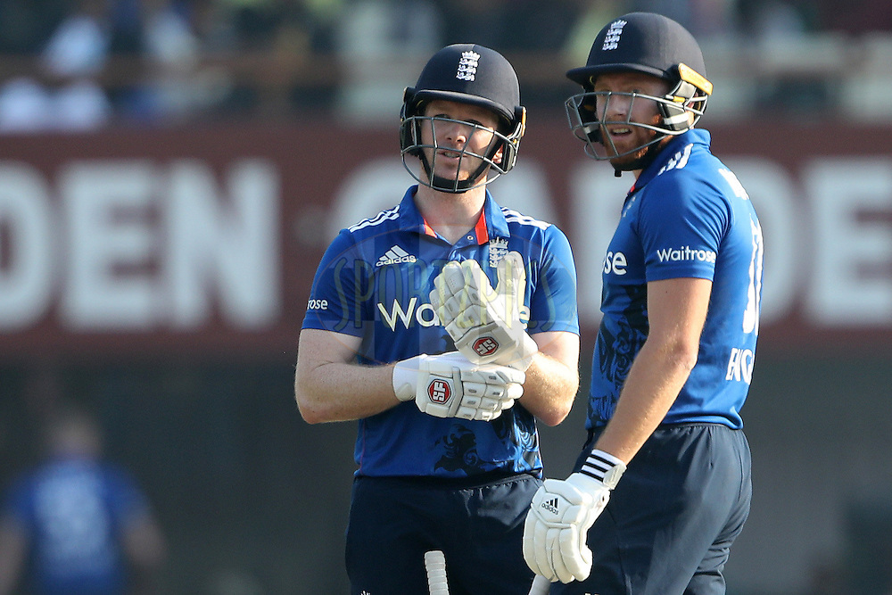 Eoin Morgan, Captain of England  and Jonny Bairstow of England with 200 ODI's between them during the third One Day International (ODI) between India and England  held at Eden Gardens in Kolkata on the 22nd January 2017<br /> <br /> Photo by: Ron Gaunt/ BCCI/ SPORTZPICS