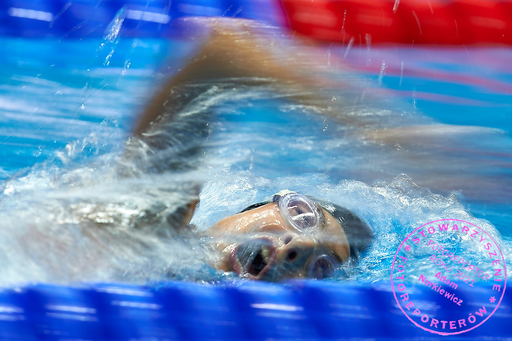 Ashgabat, Turkmenistan - 2017 September 24: Dania Nour from Palestine competes in Women's 200m Freestyle Heat 1 while Short Course Swimming competition during 2017 Ashgabat 5th Asian Indoor & Martial Arts Games at Aquatics Centre (AQC) at Ashgabat Olympic Complex on September 24, 2017 in Ashgabat, Turkmenistan.<br /> <br /> Photo by © Adam Nurkiewicz / Laurel Photo Services