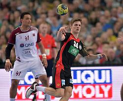 11.03.2016, Leipzig, GER, Handball L&auml;nderspiel, Deutschland vs Katar, Herren, im Bild Rune Dahmke (GER #34) // during the men's Handball international Friendlies between Germany and Qatar in Leipzig, Germany on 2016/03/11. EXPA Pictures &copy; 2016, PhotoCredit: EXPA/ Eibner-Pressefoto/ Modla<br /> <br /> *****ATTENTION - OUT of GER*****