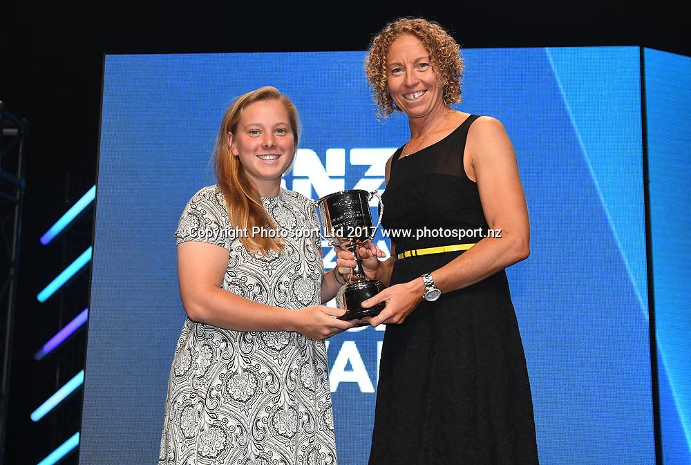 Rhyl Blacker Cup (domestic bowling): Leigh Kasperek presented by Haidee Tiffen.<br /> ANZ New Zealand Cricket Awards for the 2016/17 seasons. Auckland, New Zealand. Thursday 30 2017. &copy; Copyright photo: Andrew Cornaga / www.photosport.nz