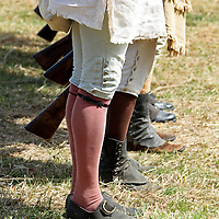 The lower portion of historical apparel typical of the Continental Army. from a re-enactment at Jockey Hollow National Park, New Jersey, USA. Parts of the Continental Army wintered at Jockey Hollow in 1789-1782.<br /> <br /> For Editorial Purposes.