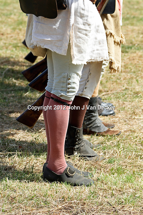 The lower portion of historical apparel typical of the Continental Army. from a re-enactment at Jockey Hollow National Park, New Jersey, USA. Parts of the Continental Army wintered at Jockey Hollow in 1789-1782.<br />