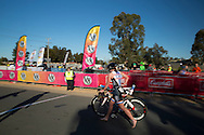 Wendy McAlpine (AUS) heads out of transition. 2012 Ironman Shepparton 70.3 Triathlon. Shepparton, Victoria, Australia. 18/11/2012. Photo By Lucas Wroe
