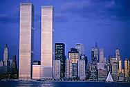 Twin Towers, World Trade Center, designed by Minoru Yamasak, New York, New York City, Lower Manhattan Skyline, Dusk, Hudson River
