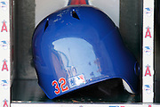 ANAHEIM, CA - JULY 21:  Closeup photo of the helmet of Josh Hamilton #32 of the Texas Rangers before the game against the Los Angeles Angels of Anaheim on July 21, 2011 at Angel Stadium in Anaheim, California. The Angels won the game in a 1-0 shutout. (Photo by Paul Spinelli/MLB Photos via Getty Images)
