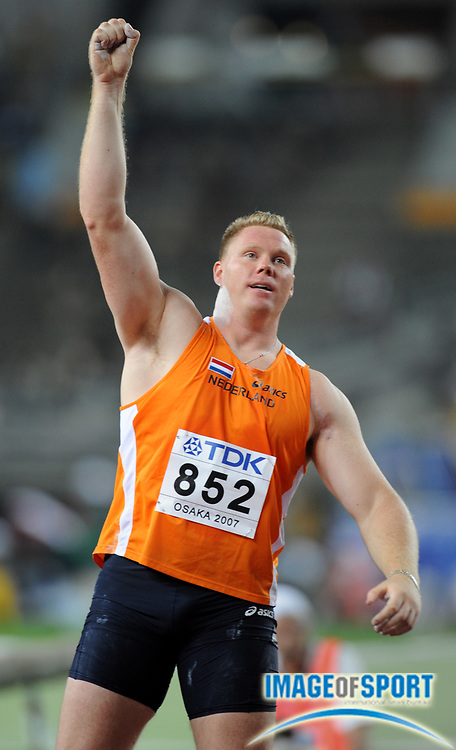 Aug 25, 2007; Osaka, JAPAN; Rutger Smith (NED) celebrates a throw in the shot put in the 11th IAAF World Championships at Nagai Stadium. Smith placed third at 69-4 (21.13m). Mandatory Credit: Kirby Lee/Image of Sport-US PRESSWIRE