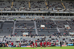 NEWCASTLE-UPON-TYNE, ENGLAND - Sunday, October 1, 2017: A general view of Liverpool players during the pre-match warm-up ahead of the FA Premier League match between Newcastle United and Liverpool at St. James' Park. (Pic by Paul Greenwood/Propaganda)
