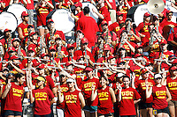 21 August 2008:  Band members in the stands. USC Trojans Pac-10 NCAA College football team final intrasquad scrimmage of fall camp in front of 8,000 fans in the Los Angeles Memorial Coliseum near school campus.  White team (1st and 2nd teamers) defeated the Cardinal (reserves) team 28-7 on Thursday.