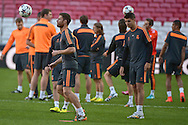 Xabi Alonso of Real Madrid who misses the final through suspension pictured during Real Madrid training at Estádio da Luz, Lisbon<br /> Picture by Ian Wadkins/Focus Images Ltd +44 7877 568959<br /> 23/05/2014