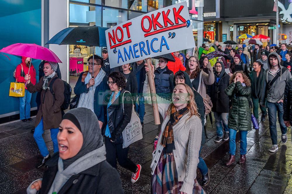 November 9, 2016 - New York, New York, United States - An estimate of ten thousand demonstrators took the streets of Manhattan on Wednesday night and converged outside Trump Tower in Midtown to protest the election of Donald J. Trump as president. (Credit Image: © Erik Mcgregor/Pacific Press via ZUMA Wire)