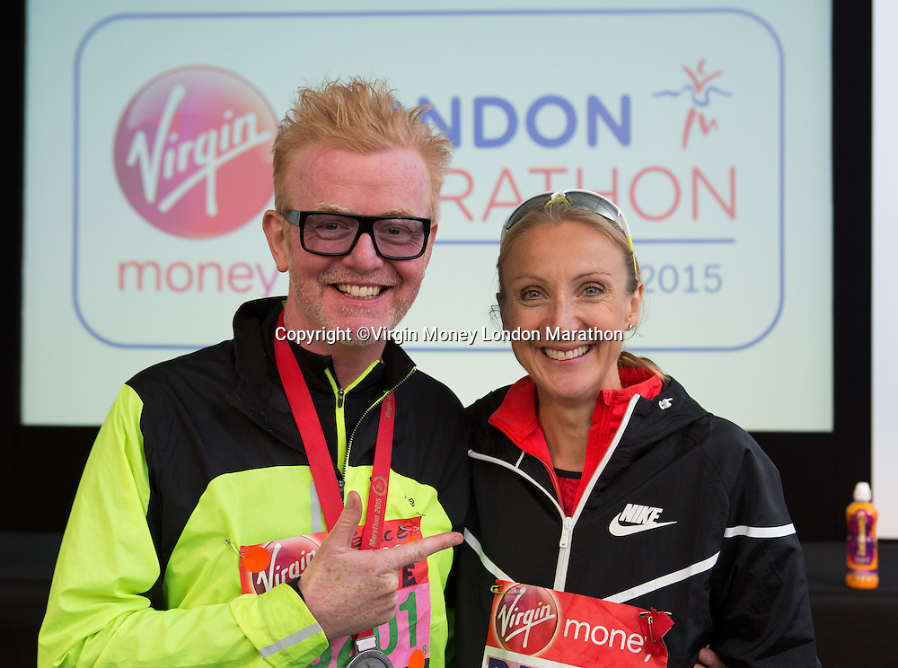 Chris Evans, the Radio 2 disc jockey who has just run The Virgin Money London Marathon meets Paula Radcliffe after her press conference, Sunday 26th April 2015.<br /> <br /> Neil Turner for Virgin Money London Marathon<br /> <br /> For more information please contact Penny Dain at pennyd@london-marathon.co.uk