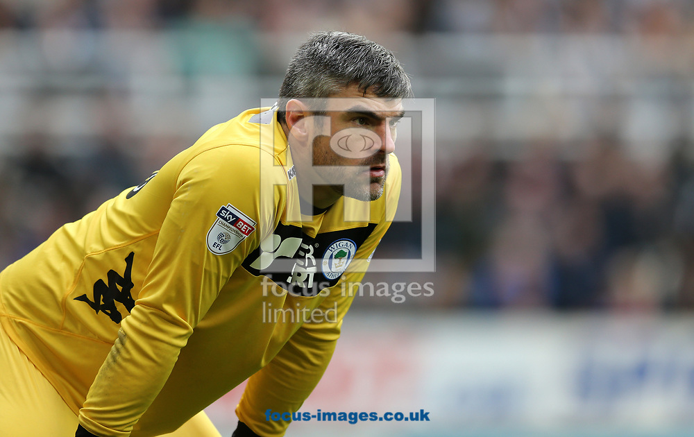 Matthew Gilks of Wigan Athletic during the Sky Bet Championship match at St. James's Park, Newcastle<br /> Picture by Simon Moore/Focus Images Ltd 07807 671782<br /> 01/04/2017