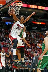November 28, 2016 - Miami, FL, USA - The Miami Heat's Hassan Whiteside dunks the ball late in the second quarter against the Boston Celtics on Monday, Nov. 28, 2016 at the AmericanAirlines Arena in Miami, Fla. (Credit Image: © Charles Trainor Jr/TNS via ZUMA Wire)