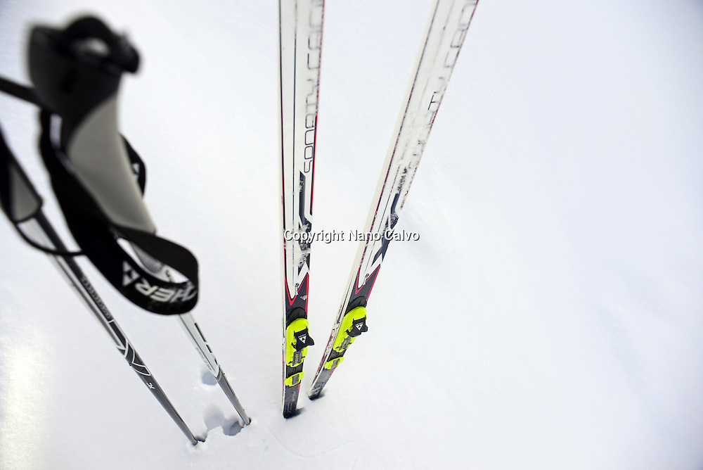 Cross country skis in the snow. Lapland, Finland
