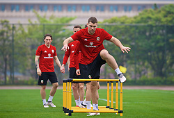 NANNING, CHINA - Saturday, March 24, 2018: Wales' Sam Vokes during a training session at the Guangxi Sports Centre ahead of the 2018 Gree China Cup International Football Championship final match against Uruguay. (Pic by David Rawcliffe/Propaganda)